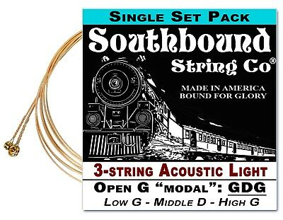Cigar Box Guitar String Set: Acoustic Light 3-string Open GDG - Low/Middle/High