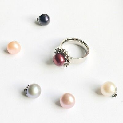 Changeable Pearl Large Rhinestone Crystal Silver Metal Plated Vintage Style
