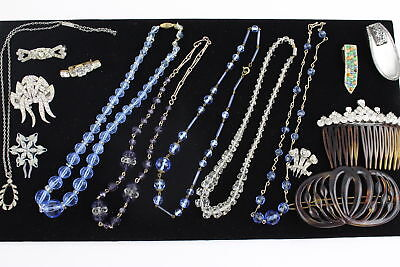 15 x True Vintage ART DECO JEWELLERY inc. Glass Beads, Paste, Hair Comb, Brooch