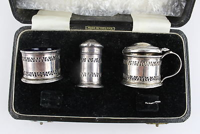 Hallmarked 1953 Birmingham Solid Silver Cruet Set for Restoration - Cased (58g)
