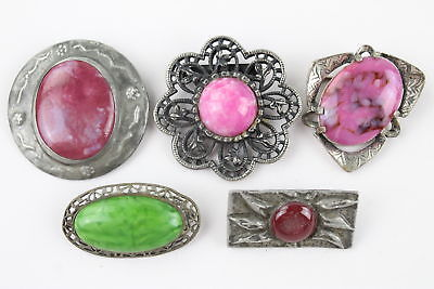 5 x Vintage ART PEWTER JEWELLERY Brooches Inc. Arts&Crafts, Peking Glass, Studio