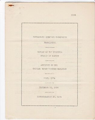 Chicago Great Western Railroad 1936 Boyd, IA Accident Investigation Report #2126