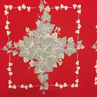 Vntg 40s-50s Calaprint Tablecloth California Printed Cotton Red Gray Ivy 47 x 53