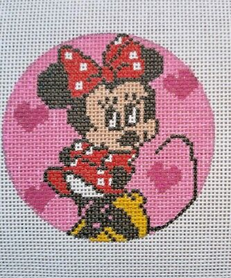 Minnie Mouse Hand Painted HP Round Ornament Needlepoint Canvas 18 mesh Disney