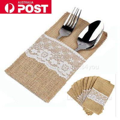 Hessian Burlap Cutlery Holder Lace Rustic Wedding Party Table Decorations OZ