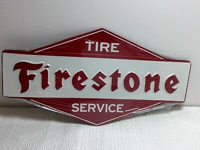 Firestone TIRE Service Station Gas Oil Mancave Garage Metal Sign