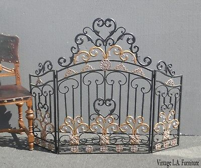 Vintage Spanish Style Black Wrought & Cast Iron Ornate Fireplace Screen