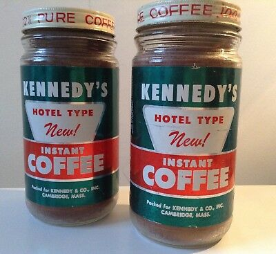 """VINTAGE, LOT(2) KENNEDY'S"""" Instant Coffees CAMBRIDGE, MASS. FULL/SEALED !!!"""