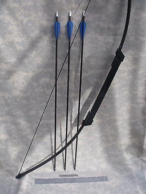 """Compact SURVIVAL/EMERGENCY Take Down BOW - 45# Longbow, (3) 30"""" Arrows, Case"""