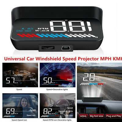 HUD Head Up Display USB OBD GPS System Car Windshield Speed Projector MPH KMH