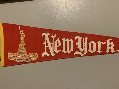 Vintage New York Statue of Liberty Souvenir Red Travel Pennant