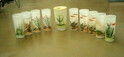 Set of 9 Vintage Blakely Gas Arizona Cactus Frosted Glasses & 1 Juice Pitcher