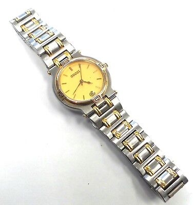 400de1f7ef9 Gucci Vintage Gold   Silver Toned 9000M Swiss Mens Ladies Wrist Watch 29-007