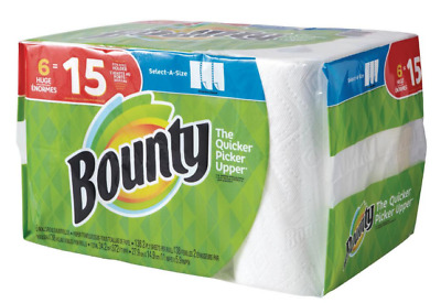 Bounty Paper Towels Roll Select A Size White 6 HUGE ROLLS = 15 Regular Roll NEW