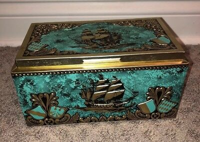 Vintage Wood Lined Cigar Box  BERING Galleons Chest Embossed Ships