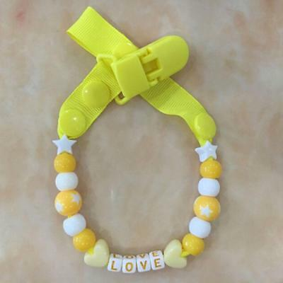 Newborn Baby Infant Candy Beaded Pacifier Holder Clip Teething Dummy Chain DD