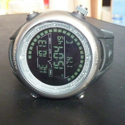 AURIOL LCD Watch With Altmeter Temperature Digital Compass New Battery 1-LD3061