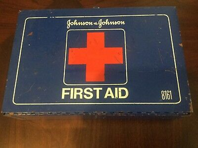 Vintage Johnson & Johnson First Aid Kit #8161 in Blue Metal Box, good condition
