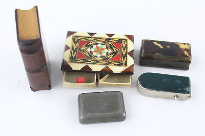5 x Assorted Vintage MATCHBOX CASES, VESTAS & SNUFF BOXES Inc. Gemstone
