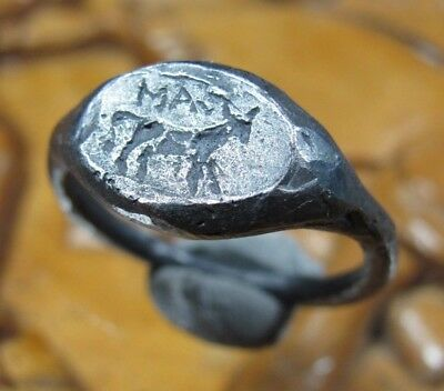 Stunning Unique Ancient Roman Silver ring Senatorial Legionary V Macedonica