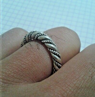 rare ancient TWISTED ring SILVER roman legionary *X* artifact antique original