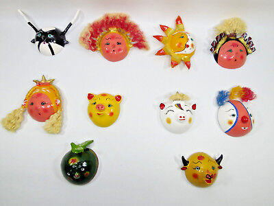 SET of 10 MASKS coconut shell mexican handmade colorful wholesale lot folk art