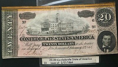 $20 and $50 Confererate Currency - Issue of 2/17/1864