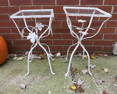 Vtg Wrought Iron Patio Garden Tables Plant Stands Ivy Leaf Design Glass Tops