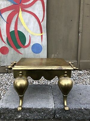 Antique SOLID BRASS ENGLISH 1880s Victorian FOOT MANS FIREPLACE Stool LOUIS XVI