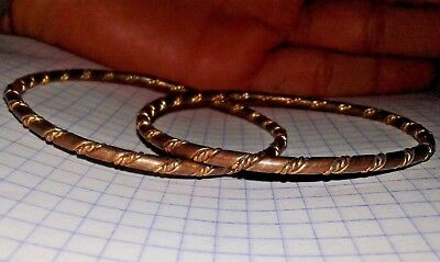 ANCIENT VIKING BRONZE TWISTED 2 BRACELETS quality artifact VERY AMAZING