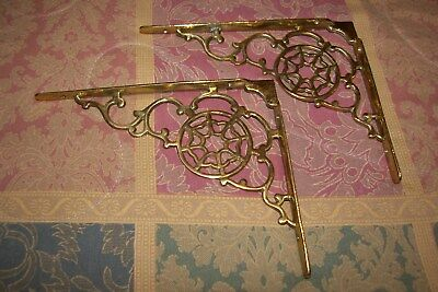 "Vintage PAIR Solid Cast Brass ""Spider Web"" Design Shelf Brackets Heavyweight  #1"