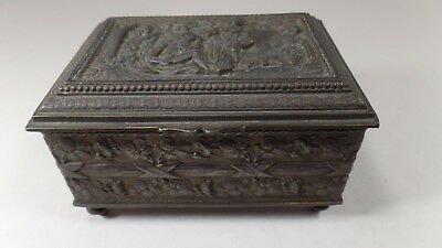 Antique Figural Bronze Footed Jewelry Box, By Jennings Brothers