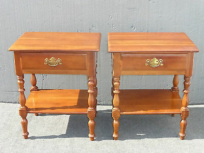 Vintage Pair of French Country Nightstands by Kling Solid Cherrywood End Tables