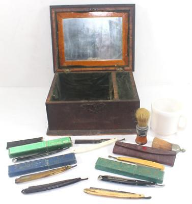 Rare 19th Century Antique Wood Shaving Box w/ 7 Straight Razors, Mug & Brushes