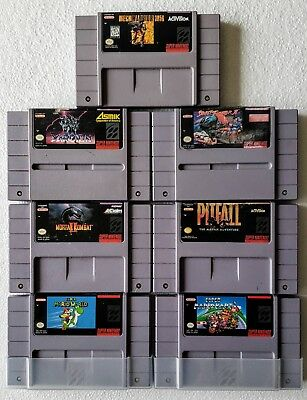 Nintendo Super NES 7 Game Lot - Mario Kart - Super Mario World Mortal Combat 2