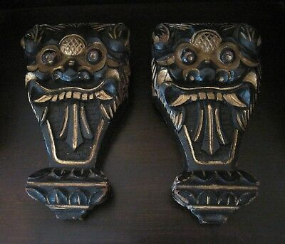 PAIR Antique hand carved wood Bali Style Devil Dragon architectural corbels EX