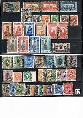 Egypt Stamps #17 Mixed Collection Of King Fuad Issues Definitives/commemoratives