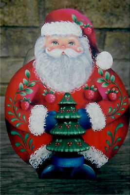"Rosemary West tole painting pattern ""Strawberry Santa Cookie Jar Lid"""