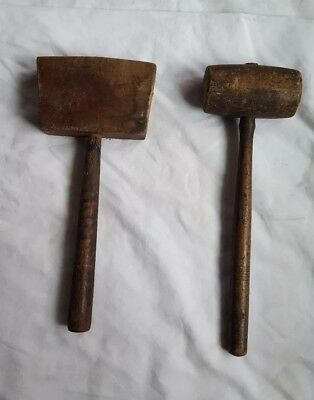 Pair (2) ANTIQUE Vintage Wooden Wood Mallets Primitive Wooden Tool Hammer Rustic