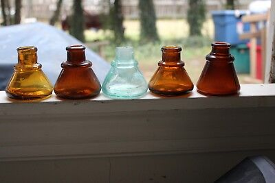 Five Early Glass Cone Ink Wells Glass Four Amber One Aqua Applied Lips