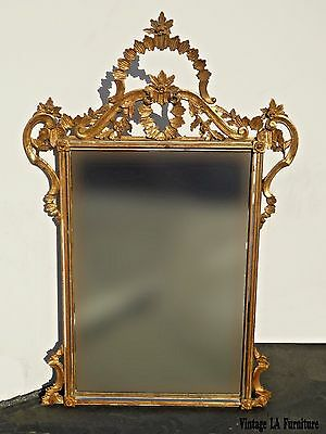 Vintage French Italian Rococo Ornately Carved Gold Wall Mantle Mirror Italy