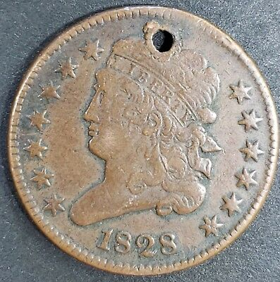 1828 Half Cent  Holed VF Details