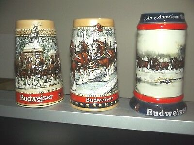 Budweise Beer Steins 1987 1988 and 1990 Holiday Steins