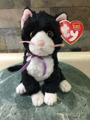 """Nwmt 8"""" Ty Beanie Babies Fussy The Black Cat Mint Tags 2004"""