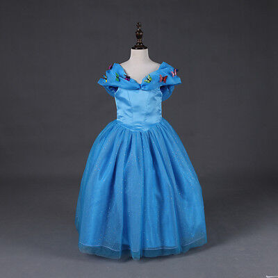8cdce48b2de8 Cinderella Costume Princess Dress Girls Wedding Party Gown Butterfly Dress  ZG9