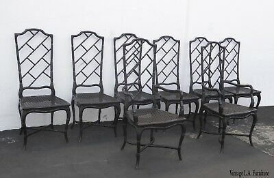 Set of Eight Tall Back Black Faux Bamboo Chinese Chippendale Dining Chairs As-Is