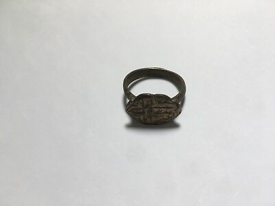 Antique Byzantine Bronze Ring With Cross