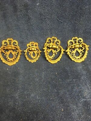 4 Vintage Art Nouveau Antique Victorian Cast Brass Ornate Drawer Pulls
