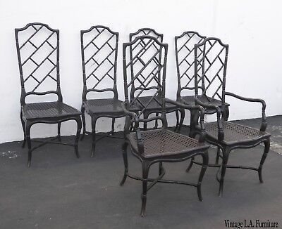 Set of Six Tall Back Faux Bamboo Black Chinese Chippendale Dining Chairs