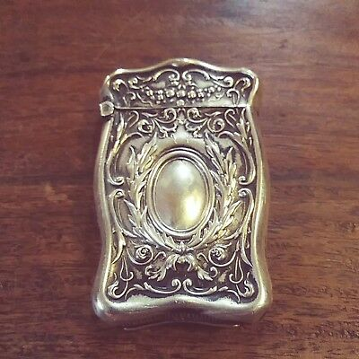Antique Victorian Repousse Sterling Silver Match Safe Vesta Case
